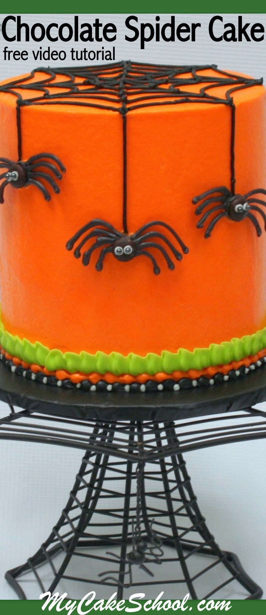Free Halloween Cake Video Tutorial for a CUTE Chocolate Spider Cake! MyCakeSchool.com Online Cake Video Tutorials, Recipes, and More!