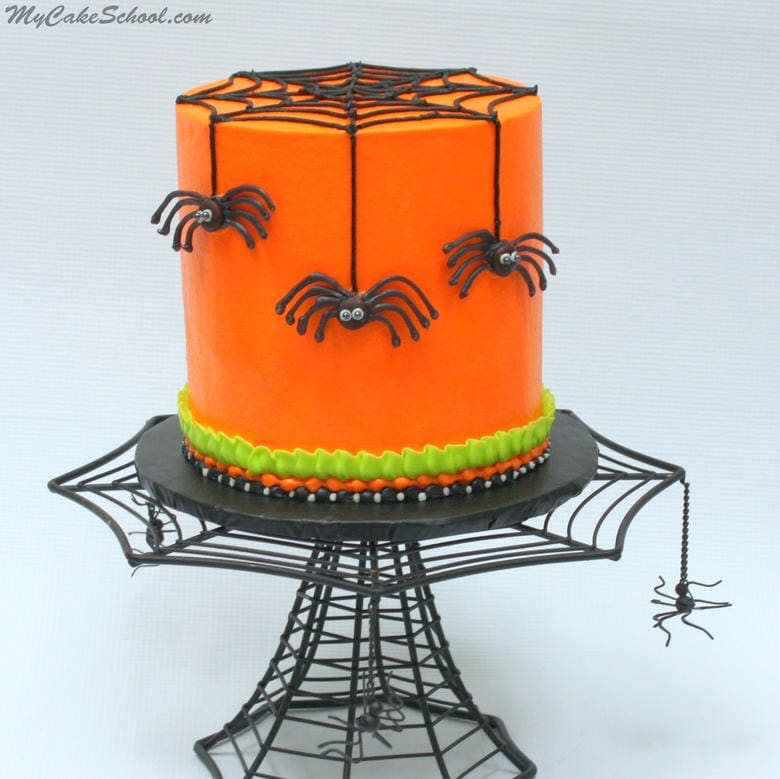 Creepy Chocolate Spiders! In this free Halloween Cake Video Tutorial, learn to create this CUTE Halloween party cake! MyCakeSchool.com