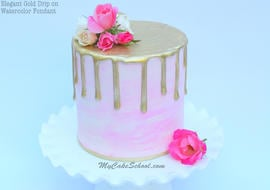 Beautiful Gold Drip Cake on Watercolor Fondant with Fresh Flowers! A Cake Video by MyCakeSchool.com!