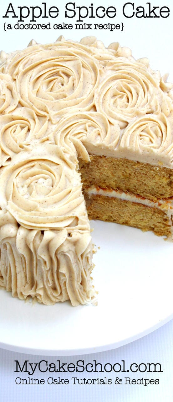 Moist and Delicious Apple Spice Cake- A Doctored Cake Mix Recipe by MyCakeSchool.com!