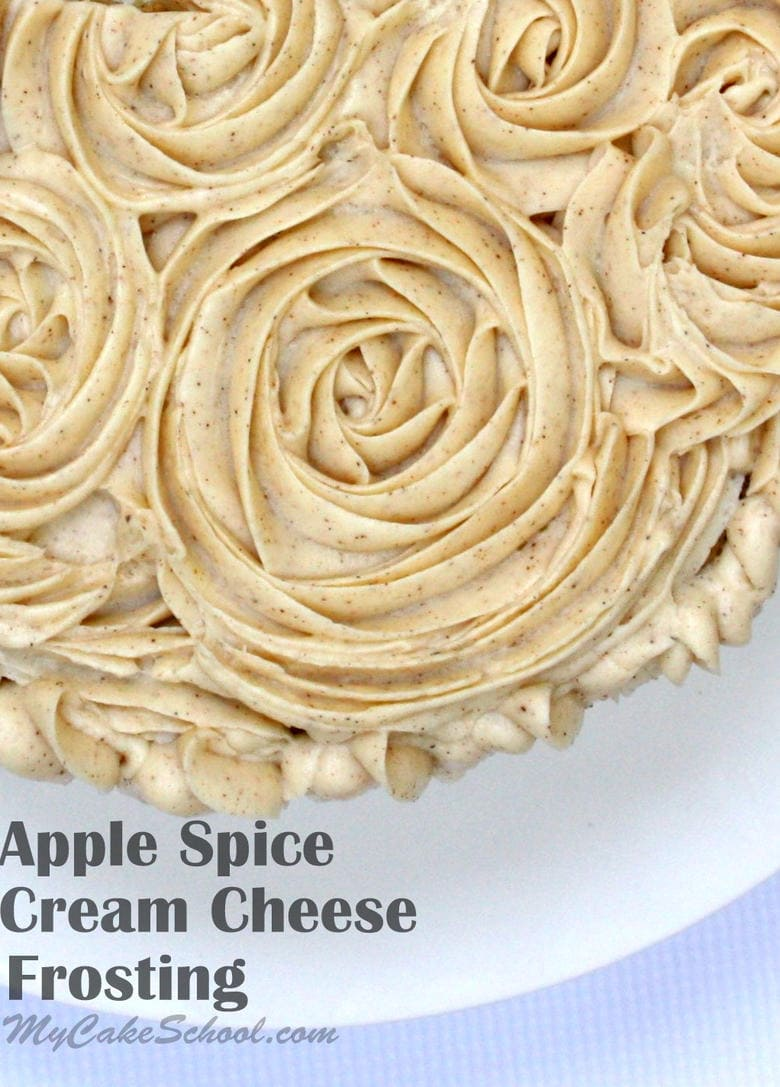This Apple Spice Cream Cheese Frosting is heavenly with Apple Spice Cake! Recipe by MyCakeSchool.com. Online tutorials, cake recipes, videos, and more!