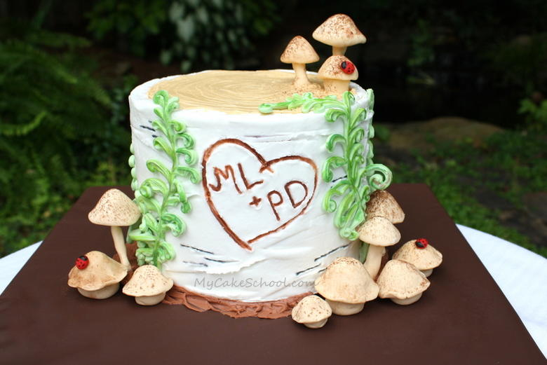 Buttercream Birch Tree Stump Cake by MyCakeSchool.com! Free tutorial and so cute for fall, anniversaries, and more!