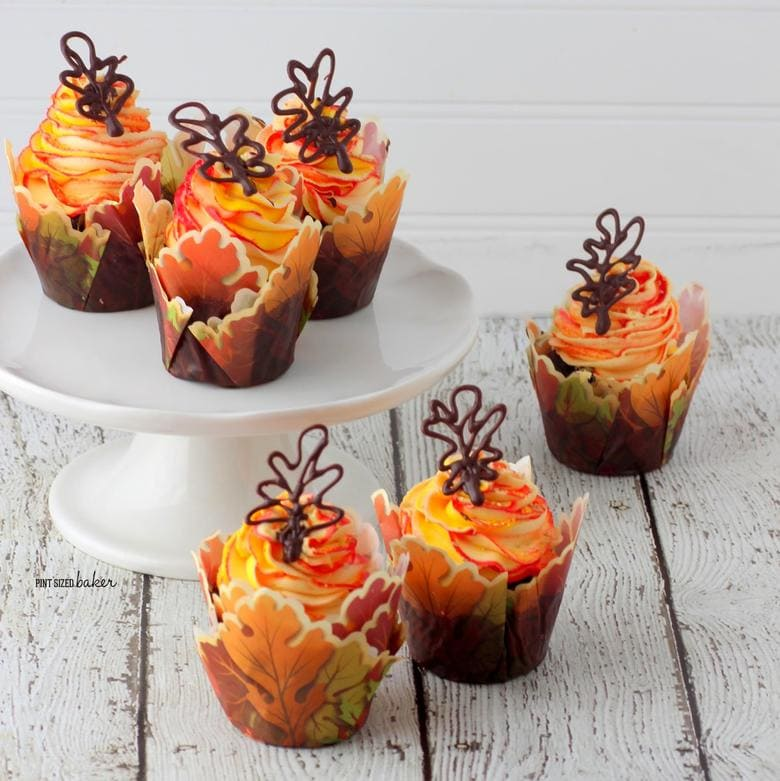 Adorable Fall Leaves Cupcakes by the Pint Sized Baker! Featured on MyCakeSchool.com's Roundup of Fall Cakes, Recipes, Ideas, and More!