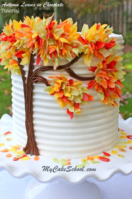 Gorgeous Autumn Leaves in Chocolate! A free cake tutorial by MyCakeSchool.com!