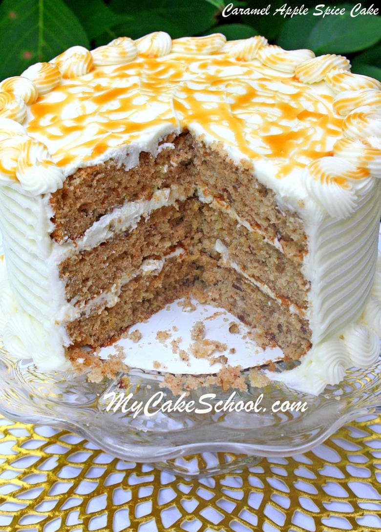 Everyone loves this super moist and delicious Caramel Apple Spice Cake! Recipe by MyCakeSchool.com!