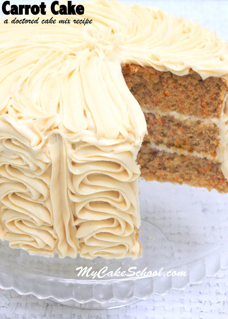 This delicious Carrot Cake recipe starts with a cake mix! Recipe by My Cake School!