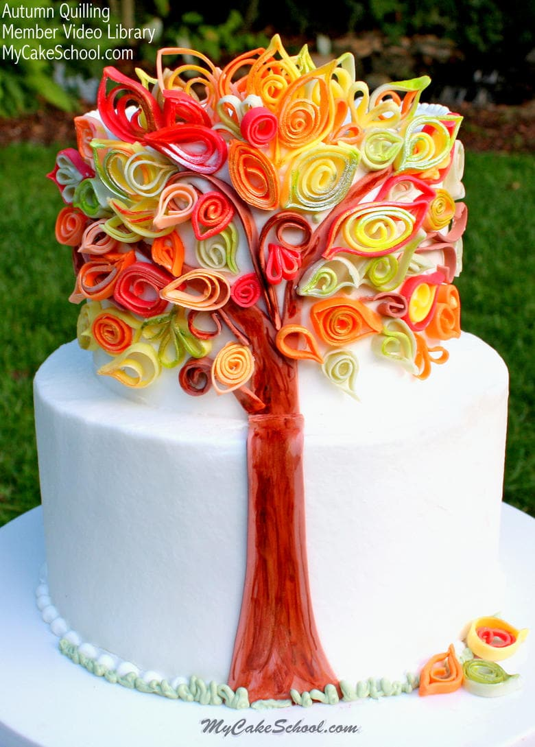 Quilled Fondant Leaves Cake! Roundup of Thanksgiving and Fall Cakes, Tutorials, and Recipes!