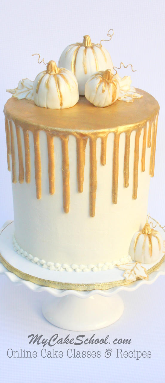 Elegant gold drip cake on buttercream! A fall cake video by MyCakeSchool.com!