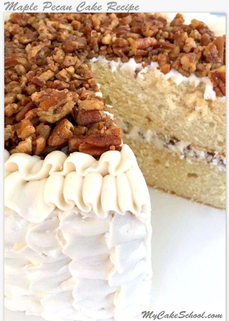 Delicious Maple Pecan Cake from Scratch! A My Cake School recipe!