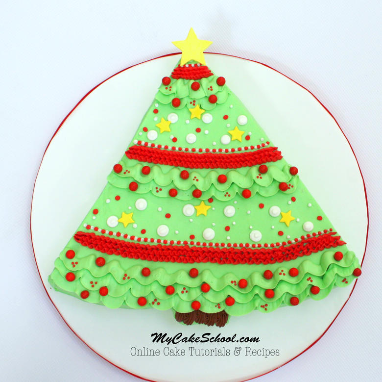 The CUTEST Christmas Tree Sheet Cake- Free Video Tutorial by MyCakeSchool.com!