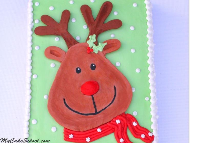 Buttercream Rudolph Cake Video! Free Cake Video Tutorial by MyCakeSchool.com on Frozen Buttercream Transfers!