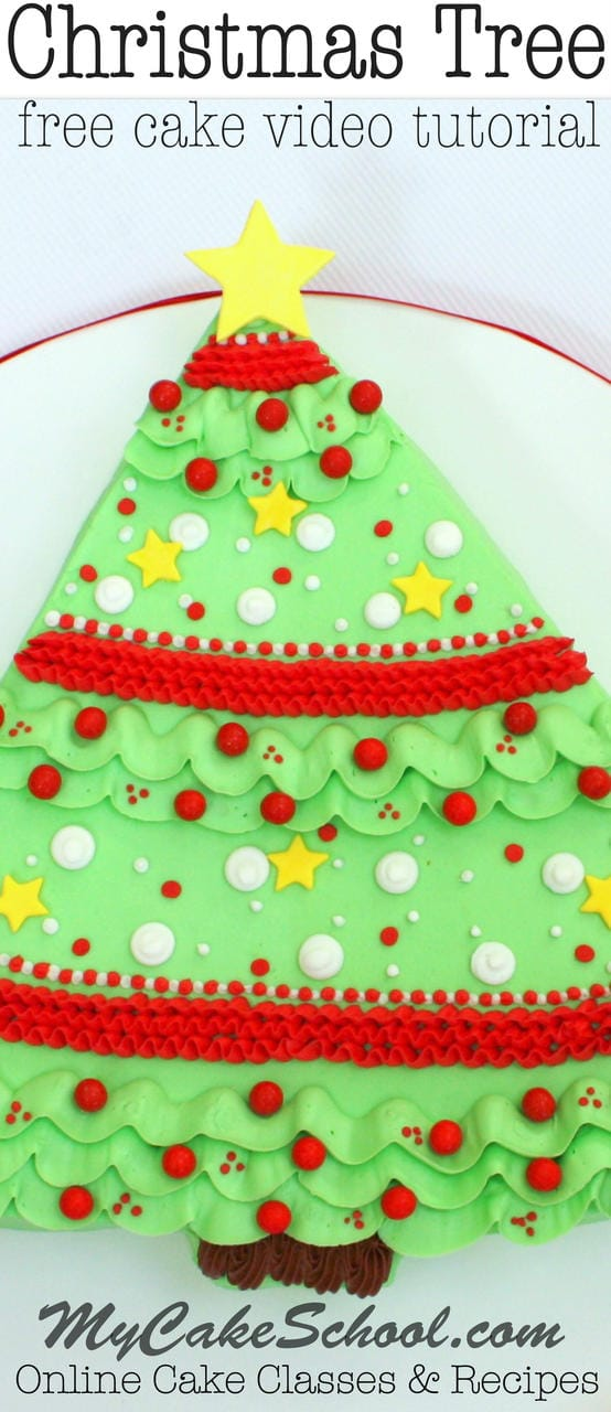 Sweet Christmas Tree Sheet Cake! Free Video Tutorial by MyCakeSchool.com!