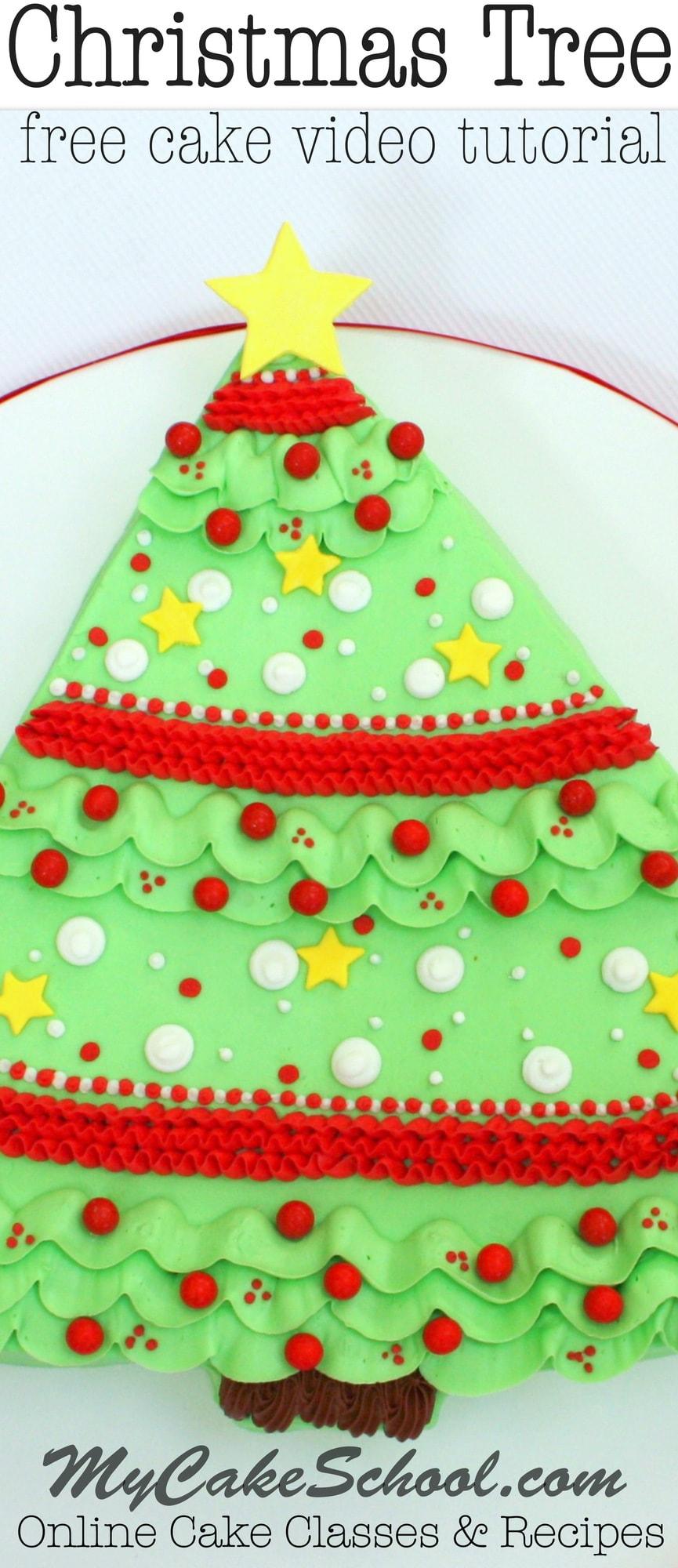 Sweet Christmas Tree Sheet Cake! Free Video Tutorial by MyCakeSchool.com!