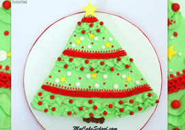 The CUTEST buttercream Christmas Tree Sheet Cake video tutorial by MyCakeSchool.com!