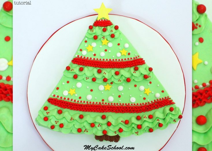 The CUTEST buttercream Christmas Tree Sheet Cake video tutorial by MyCakeSchool.com!