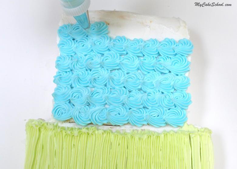 """Adorable """"Tiered"""" Sheet Cake Design! Free Cake Tutorial by MyCakeSchool.com!"""