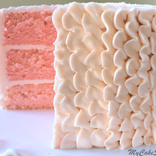 The BEST Pink Champagne Cake (doctored cake mix) Recipe by My Cake School! So moist and flavorful!