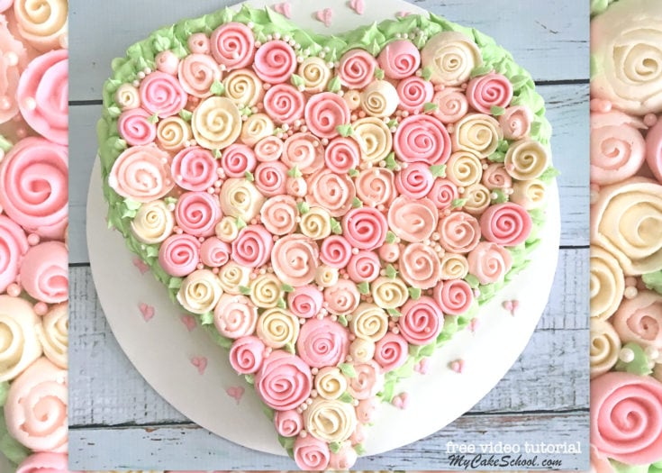 Romantic Buttercream Ribbon Roses Heart Cake Tutorial by My Cake School! The free version of this cake tutorial is available in our blog!