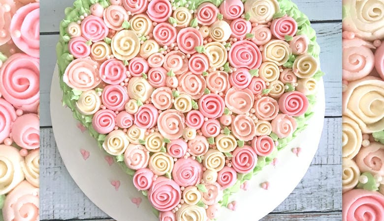Buttercream Ribbon Rose Heart Cake- Free Video Tutorial