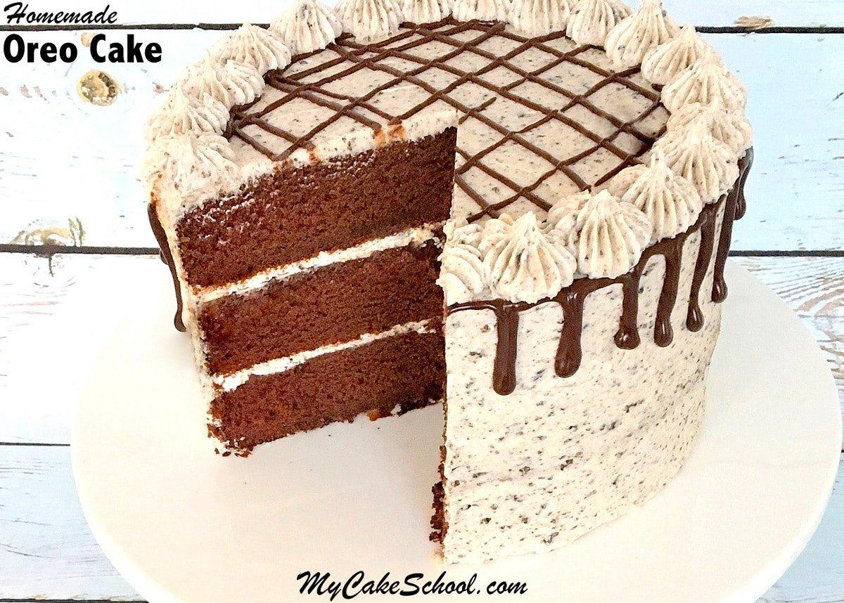 Delicious Oreo Cake Recipe from Scratch with Ganache and Oreo Buttercream! Recipe by MyCakeSchool.com.