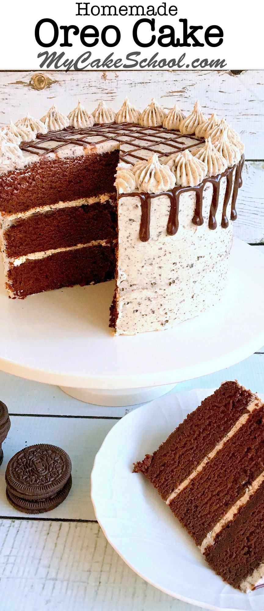 AMAZING Oreo Cake Recipe with moist and decadent chocolate cake layers, ganache, and Oreo Buttercream Frosting! You've got to try this fantastic homemade cake!