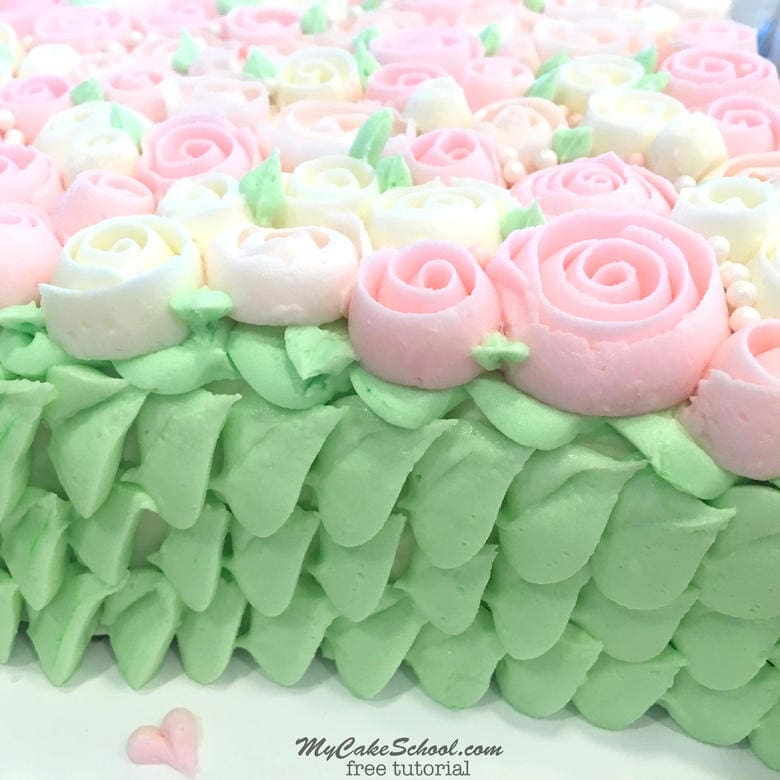 The side view of our Buttercream Rose Sweetheart Cake! MyCakeSchool.com Free Cake Tutorial!
