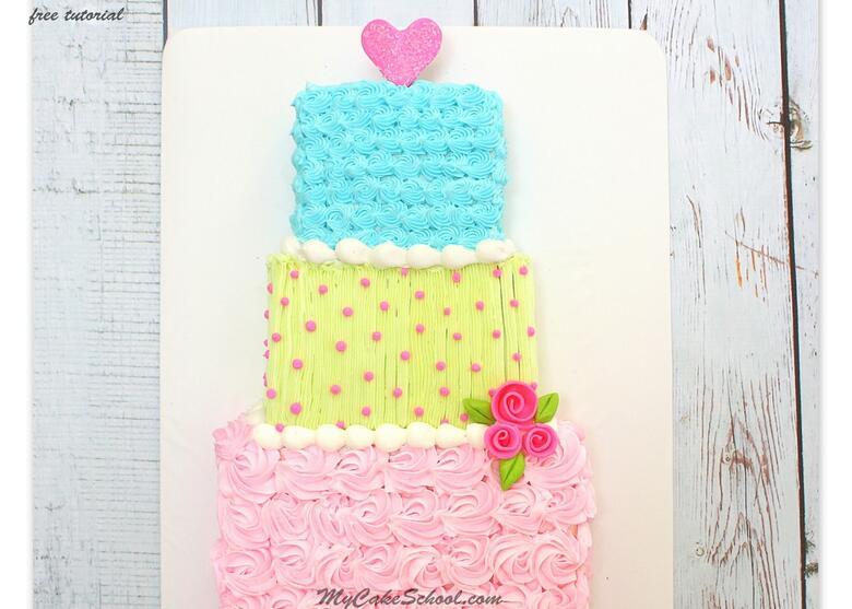 Adorable Tiered Sheet Cake Design. Free Cake Tutorial by MyCakeSchool.com.