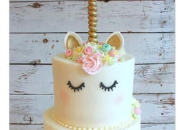Adorable Unicorn Cake Tutorial by My Cake School! Online cake classes, tutorials, and more!