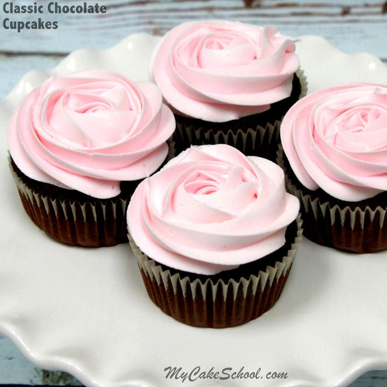 Delicious Classic Chocolate Cupcakes From Scratch! So moist and wonderful chocolate flavor! My Cake School.