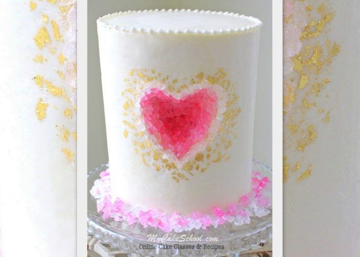 Geode Heart Cake-  A Cake Decorating Video Tutorial