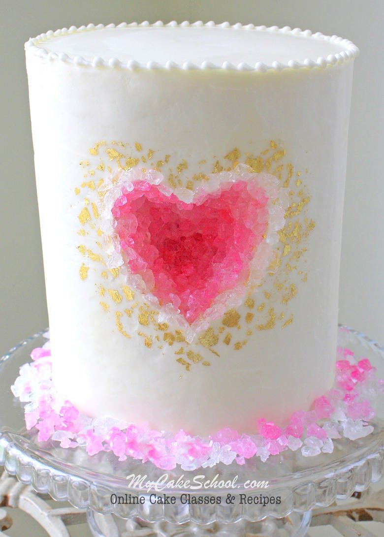 Heart Geode Cake Tutorial by MyCakeSchool.com! Member cake video section. Online cake classes and recipes!