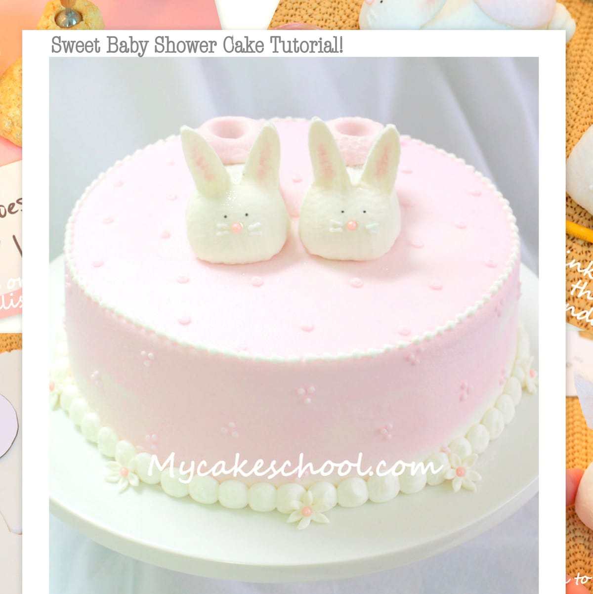 Free Bunny Booties Cake Topper Tutorial by MyCakeSchool.com! Online cake tutorials, cake recipes, videos, and more!