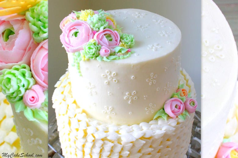 Buttercream Eyelet Cake Video Tutorial by MyCakeSchool.com! Member cake video section. Featuring buttercream eyelet and flowers!