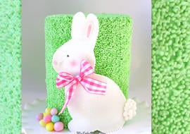 Cute Bunny Cake Video Tutorial by MyCakeSchool.com! This free cake video tutorial is perfect for springtime and Easter gatherings! MyCakeSchool.com online cake tutorials, videos, tutorials, and more!