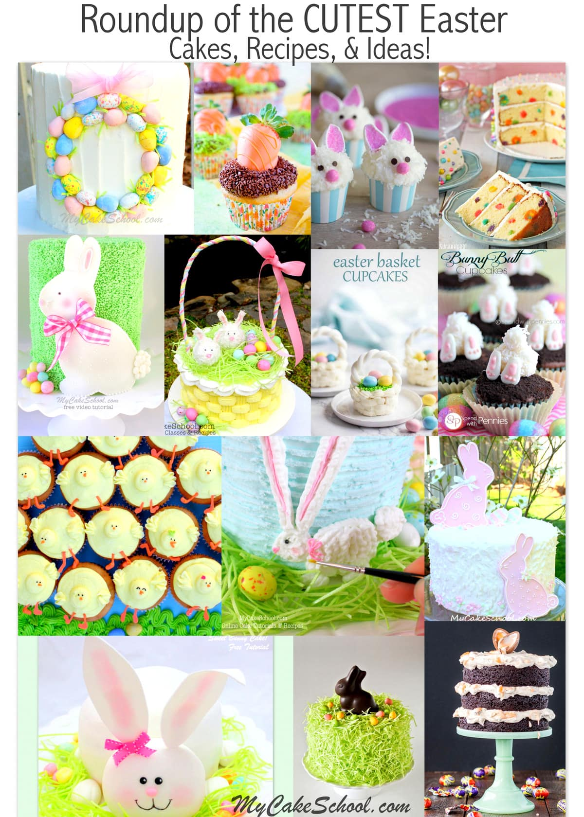 Roundup of the BEST Easter and Springtime Cakes, Tutorials, and Recipes! MyCakeSchool.com.