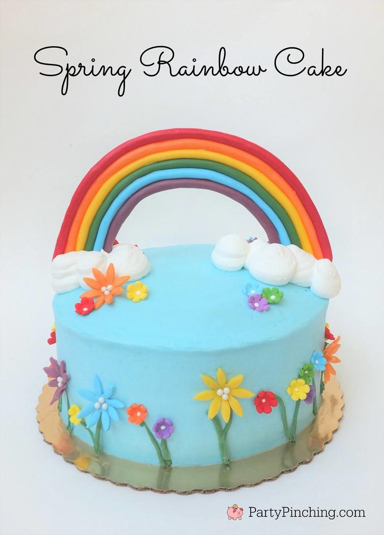 Adorable Rainbow Cake Tutorial by Party Pinching! Rainbow Cake Roundup by MyCakeSchool.com.