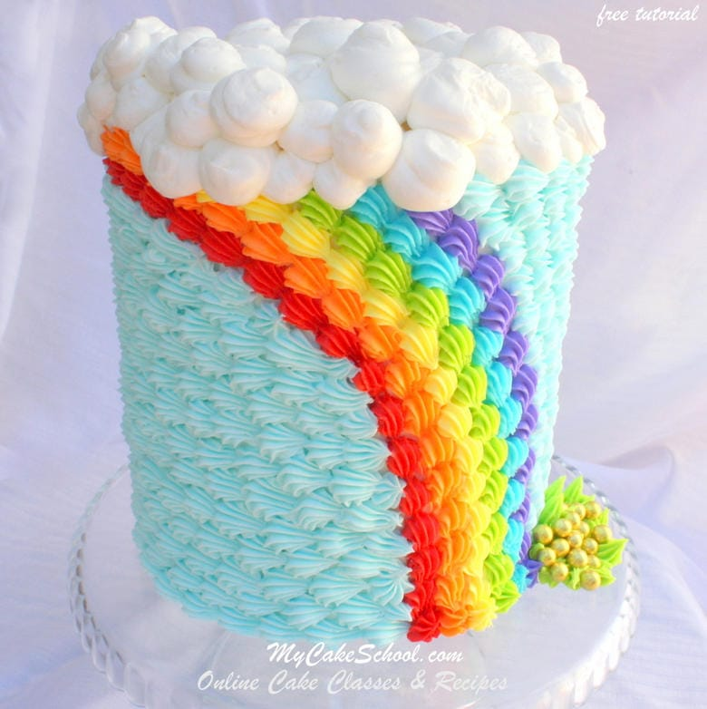 Rainbow Cake Tutorial with Piped Buttercream Shells! From our Rainbow Cake Tutorial Roundup by My Cake School!