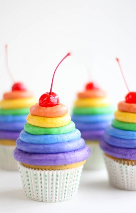 Rainbow Cupcakes by Sprinkle Bakes! {Featured on MyCakeSchool.com's Rainbow Cake Roundup}