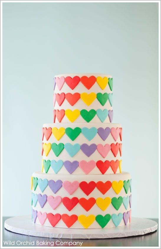 Rainbow Hearts Cake-Rainbow Cake Roundup by MyCakeSchool.com.