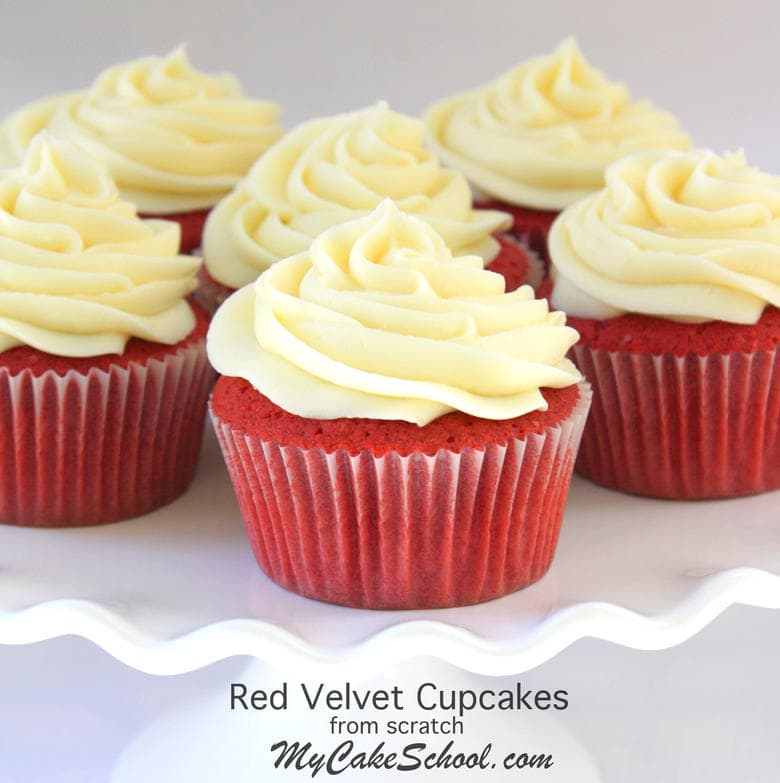 The BEST Red Velvet Cupcakes Recipe by MyCakeSchool.com! Super moist, delicious, and flavorful cupcakes! Great for fluffy Red Velvet Cake Layers also. MyCakeSchool.com Cake Recipes, Cake Videos, Tutorials, and more!