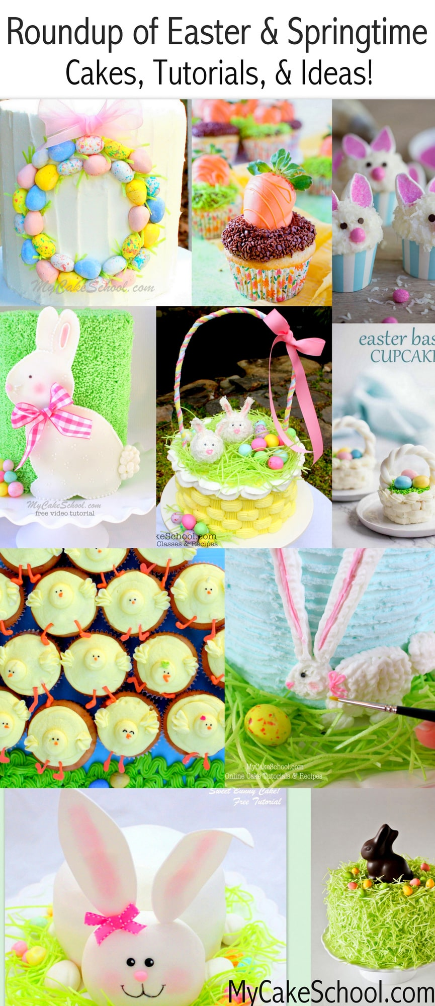Roundup of the CUTEST Easter and Springtime Cakes, Tutorials, and Ideas! MyCakeSchool.com