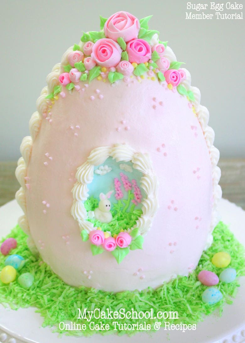 Sugar Egg Cake! Member cake video tutorial from MyCakeSchool.com! Online cake tutorials, cake recipes, videos and more!