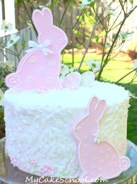 Sweet Bunny Cake! Free Cake Tutorial by MyCakeSchool.com. Online cake tutorials, cake recipes, videos, and more!