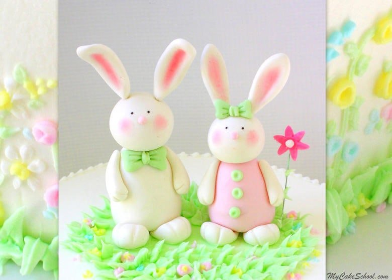 CUTE Gum Paste Bunnies! Cake Topper Video Tutorial (Member Section) by MyCakeSchool.com! Perfect for Easter and springtime cakes, young birthday cakes, and baby showers! MyCakeSchool.com.