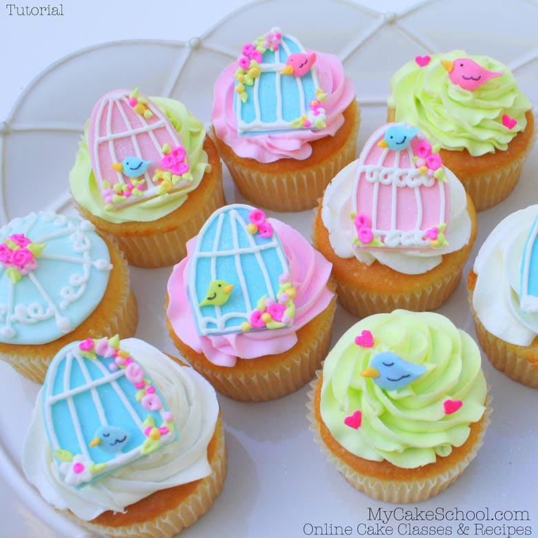 Free Tutorial for ADORABLE Birdcage Cupcakes! MyCakeSchool.com
