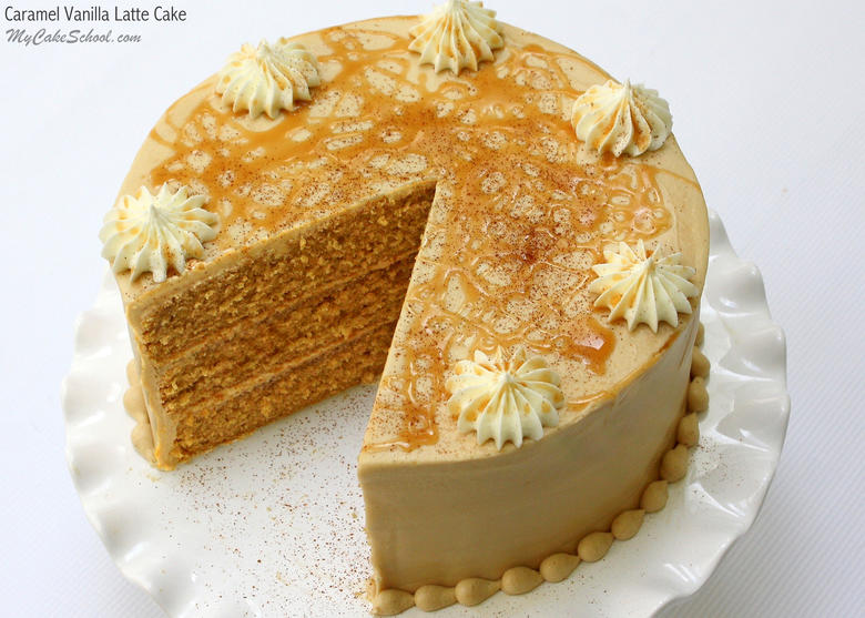 Amazing Caramel Vanilla Latte Cake Recipe by MyCakeSchool.com. So moist and flavorful!