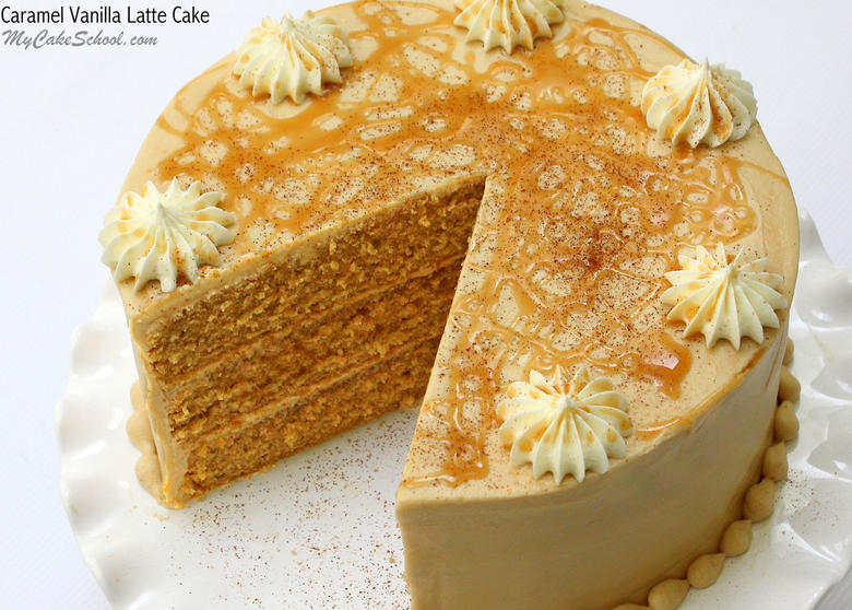 Amazing Caramel Vanilla Latte Cake Recipe by MyCakeSchool.com! A moist a delicious recipe with a heavenly combination of caramel, espresso, and vanilla flavors. Yum!