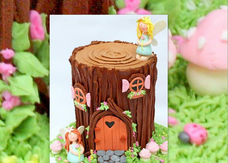 Adorable Fairy House Tree Stump Cake Video Tutorial by MyCakeSchool.com