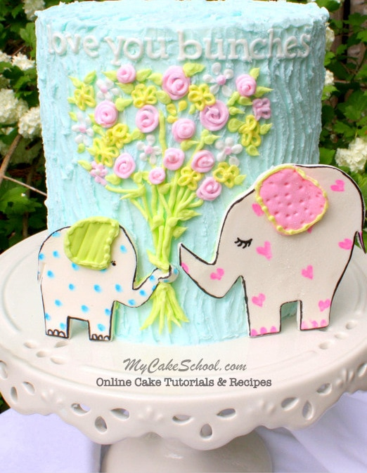 Love You Bunches! Sweet Elephant Theme for Mother's Day! Free Cake Tutorial by My Cake School!