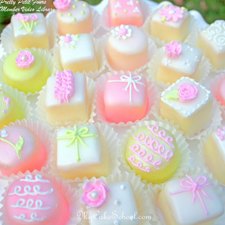 How to Make Pretty Petit Fours! A MyCakeSchool.com member cake video tutorial!